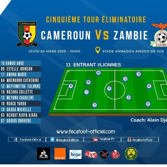 CAMEROUN :: Urgent, Cameroun Vs Zambie: le onze entrant sans Raïssa Feudjio :: CAMEROON